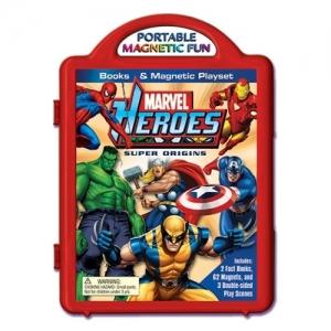 Marvel Heroes Super Origins Book & Magnetic Playset